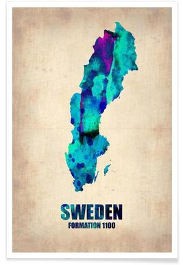 Zweden - aquarelkaart poster