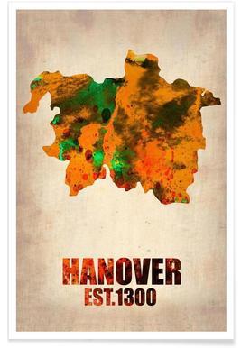 Hannover - aquarelkaart poster