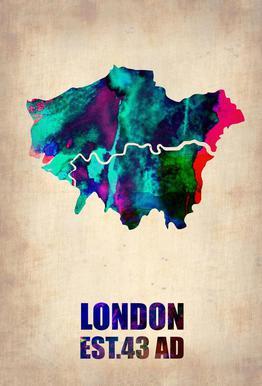 London Watercolor Map