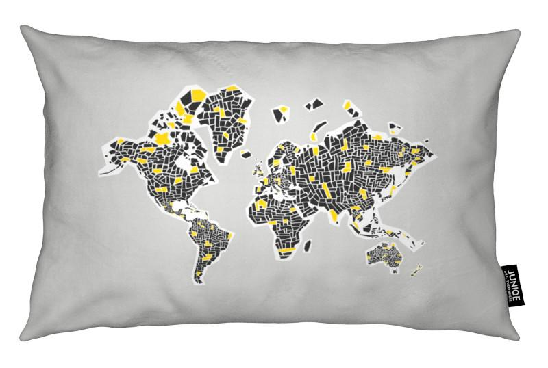 Abstract World Map As Cushion By Fox Velvet Juniqe Uk