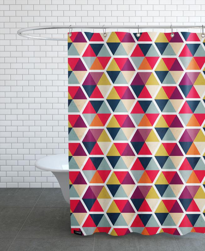 Colorful Umbrellas Geometric Pattern As Shower Curtain