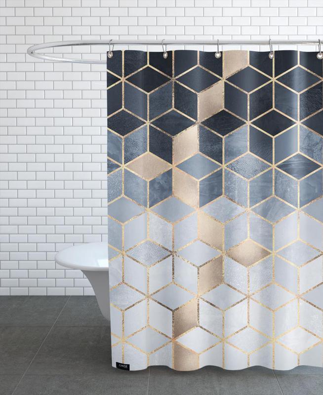 soft blue gradient cubes as shower curtain juniqe. Black Bedroom Furniture Sets. Home Design Ideas