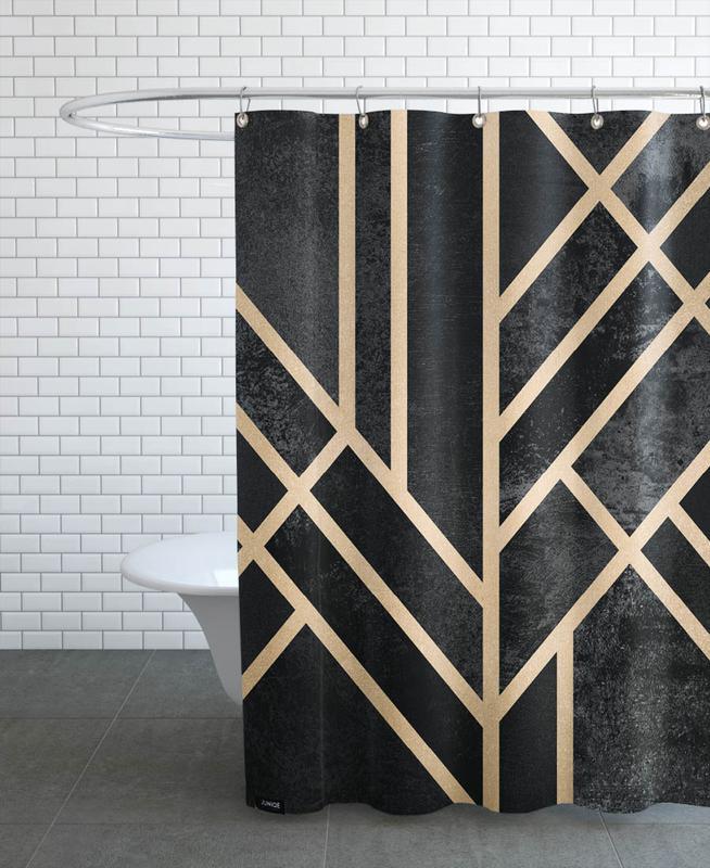 art deco black en rideau de douche par elisabeth fredriksson juniqe. Black Bedroom Furniture Sets. Home Design Ideas