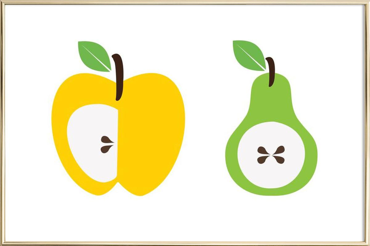 The Apple And Pear Poster as Poster in Aluminium Frame   JUNIQE