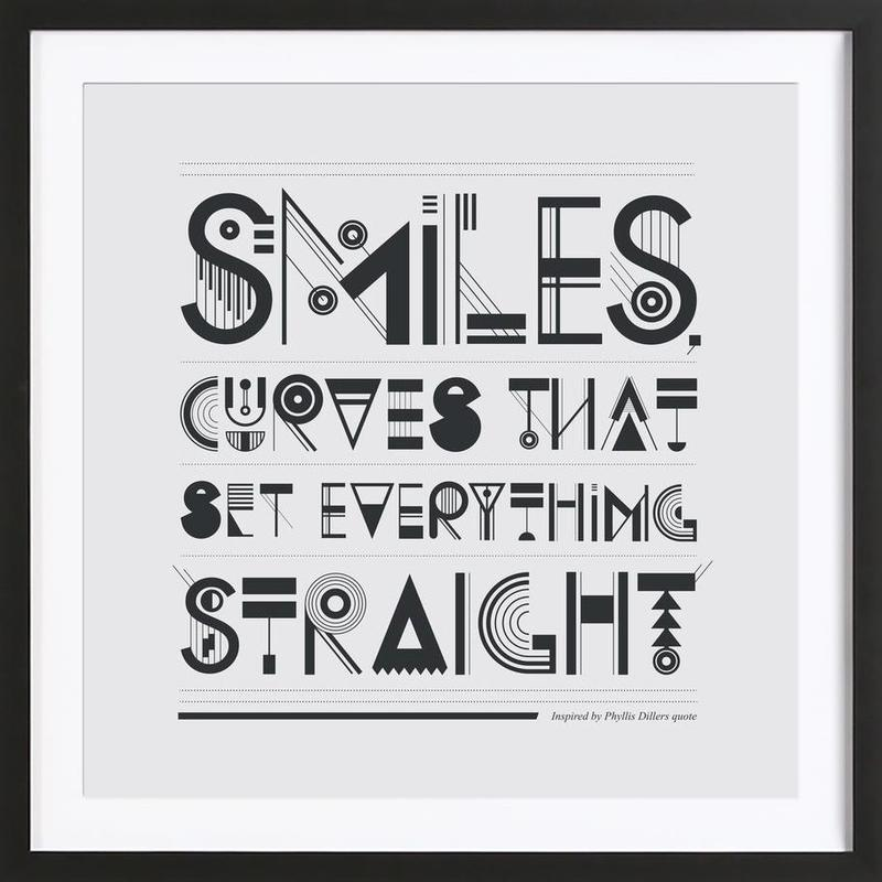 Smiles as Poster in Wooden Frame by Petros Afshar   JUNIQE UK