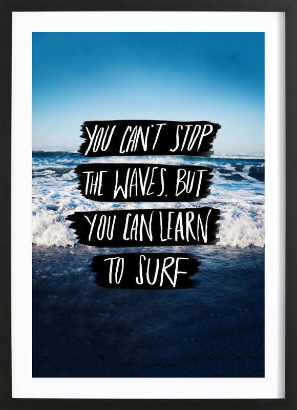 Learn to Surf as Poster in Wooden Frame by Leah Flores | JUNIQE