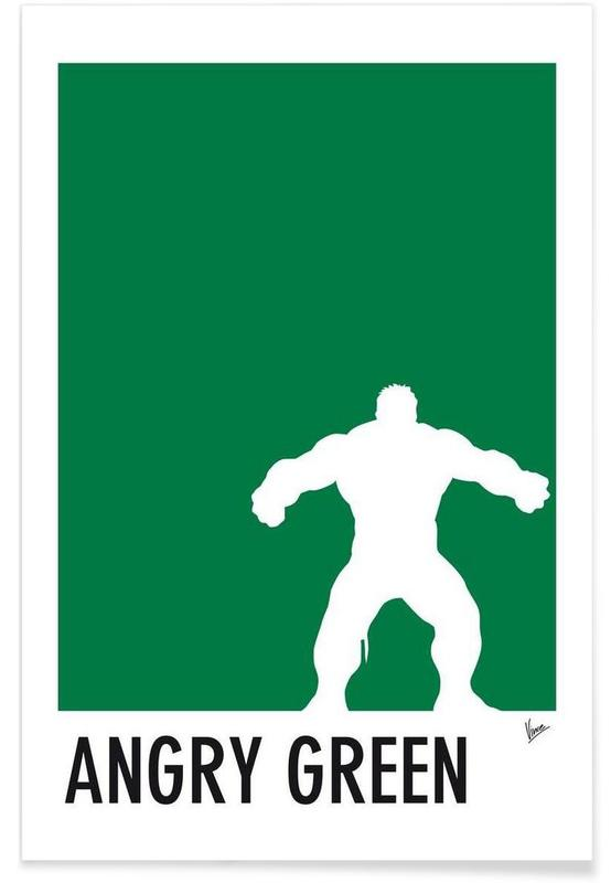 my superhero 01 angry green minimal poster als premium