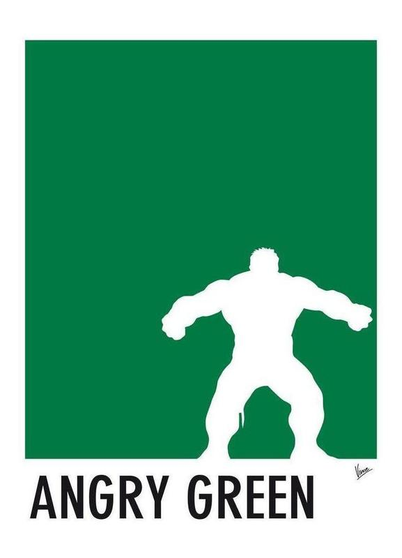 my superhero 01 angry green minimal poster als canvas