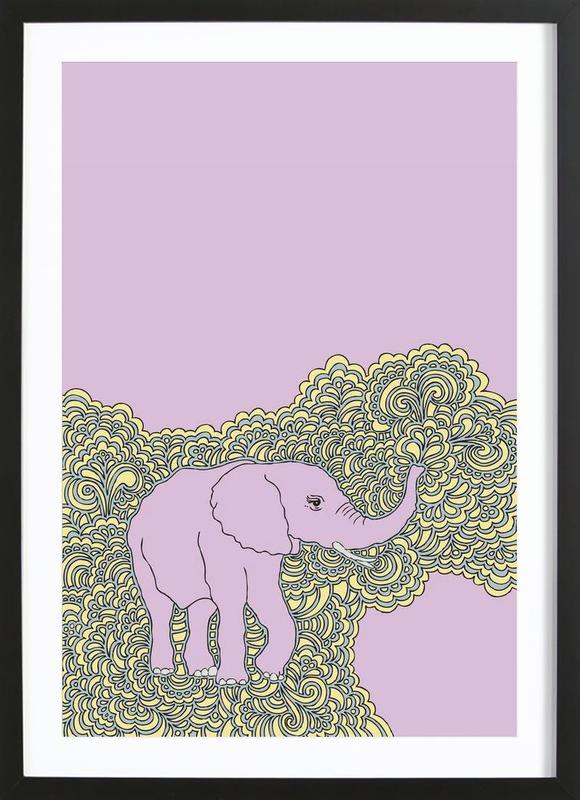 Elephant Purple as Poster in Wooden Frame by KP Design | JUNIQE