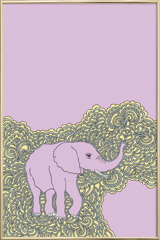 Elephant Purple as Poster in Aluminium Frame by KP Design | JUNIQE
