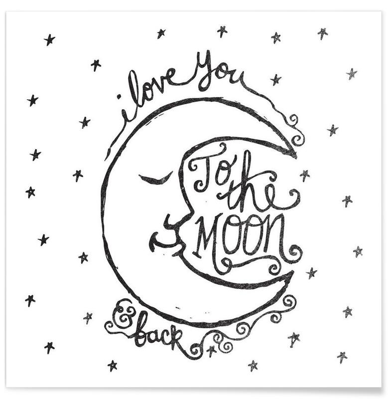 I Love You To The Moon Back As Poster