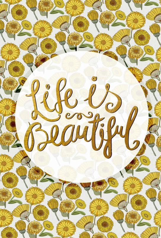 Life is Beautiful as Aluminium Print by Pom Graphic Design | JUNIQE