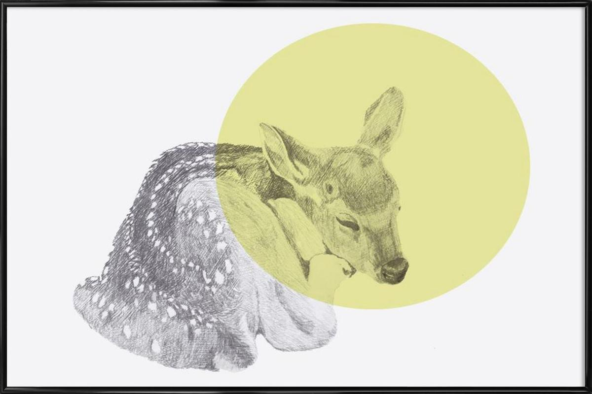 Sleeping Deer as Poster in Standard Frame by Morgan Kendall | JUNIQE