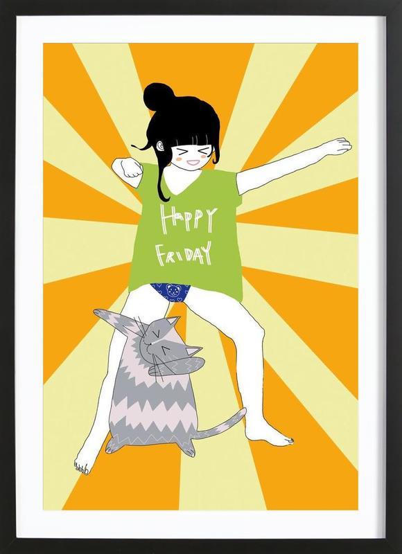 happy friday i als poster im holzrahmen von daniela spoto juniqe ch. Black Bedroom Furniture Sets. Home Design Ideas
