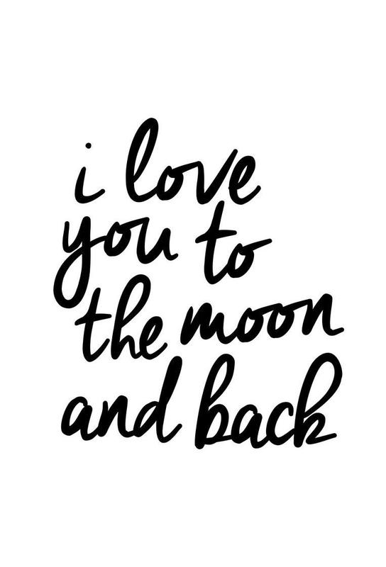 i love you to the moon and back as aluminium print juniqe. Black Bedroom Furniture Sets. Home Design Ideas