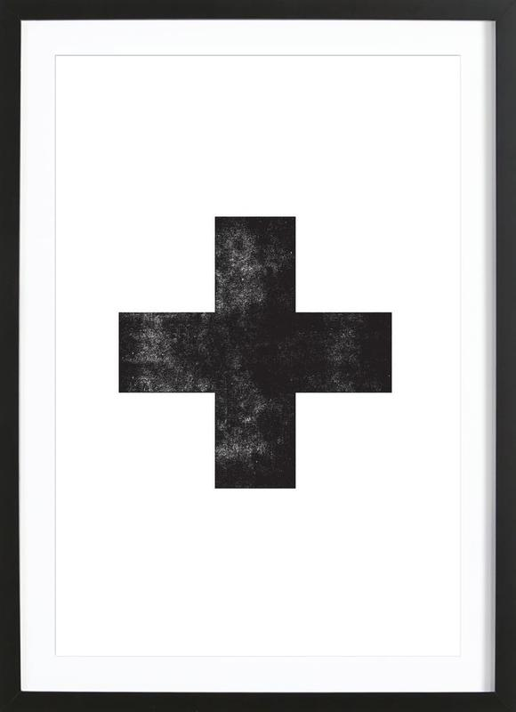 Swiss Cross White as Poster in Wooden Frame | JUNIQE