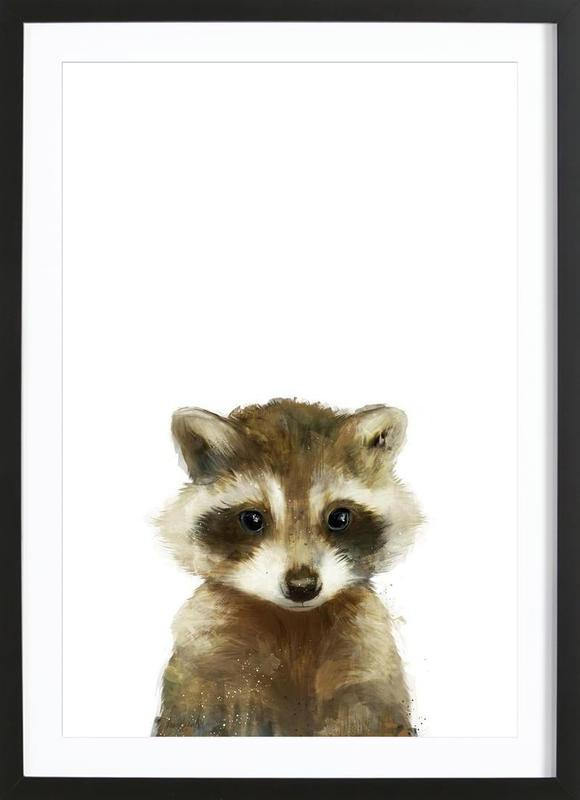 little raccoon als poster im holzrahmen von amy hamilton juniqe. Black Bedroom Furniture Sets. Home Design Ideas