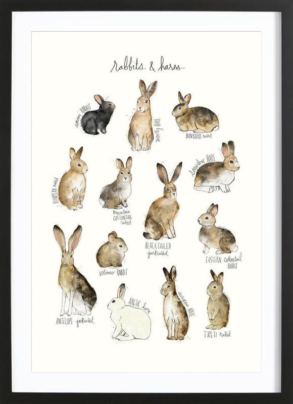 Rabbits and Hares as Poster in Wooden Frame by Amy Hamilton | JUNIQE UK