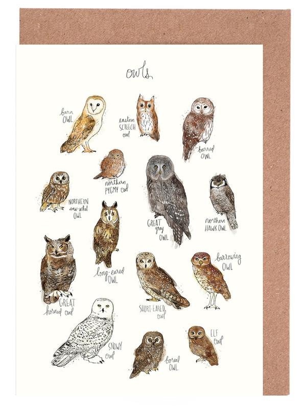 Owls as greeting card set by amy hamilton juniqe m4hsunfo