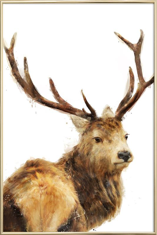 Winter Red Deer as Poster in Aluminium Frame by Amy Hamilton   JUNIQE UK