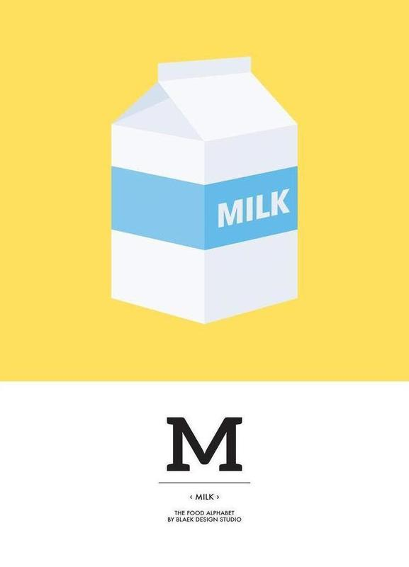"The Food Alphabet"" - M like Milk as Canvas Print 