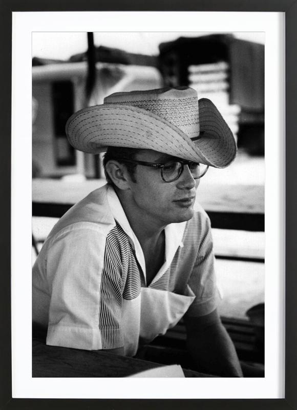 James Dean with Cowboy Hat as Poster in Wooden Frame   JUNIQE