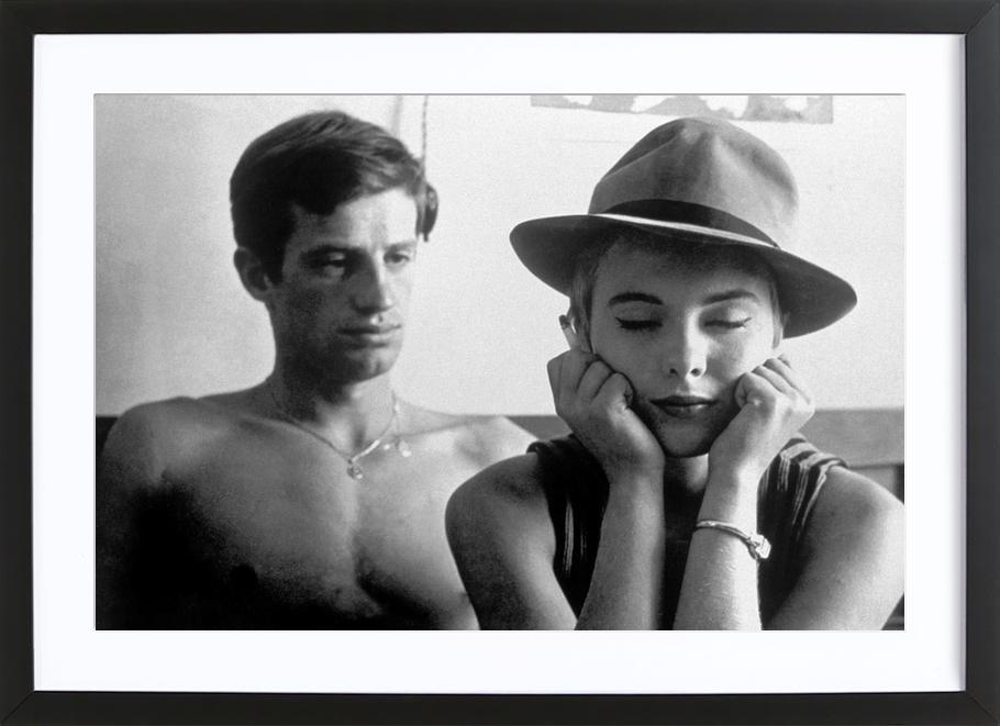 Jean-Paul Belmondo and Jean Seberg in Breathless, 1960 als Poster im ...