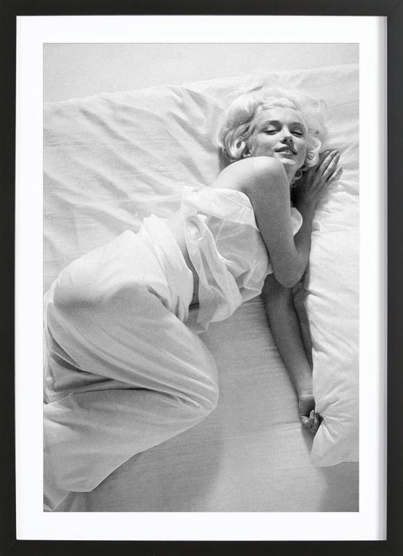 Marilyn Monroe in Bed as Poster in Wooden Frame   JUNIQE