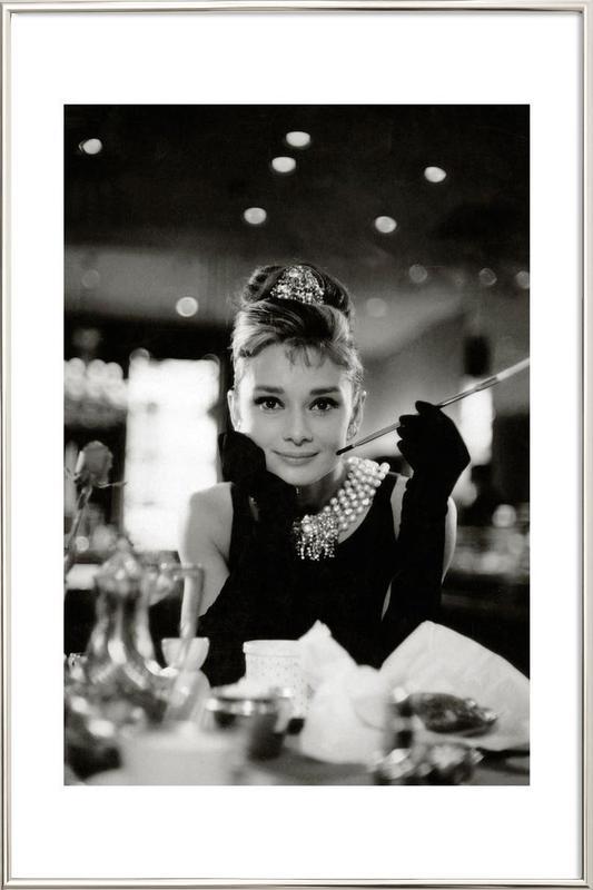 Audrey hepburn in breakfast at tiffanys 1961 as poster in aluminium frame juniqe uk