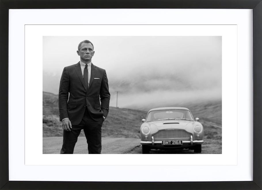 Daniel craig as james bond as poster in wooden frame juniqe uk