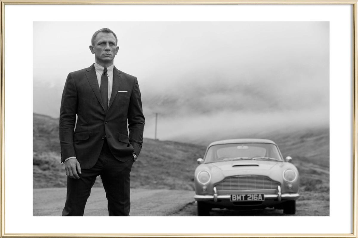 Daniel Craig As James Bond As Poster In Aluminium Frame