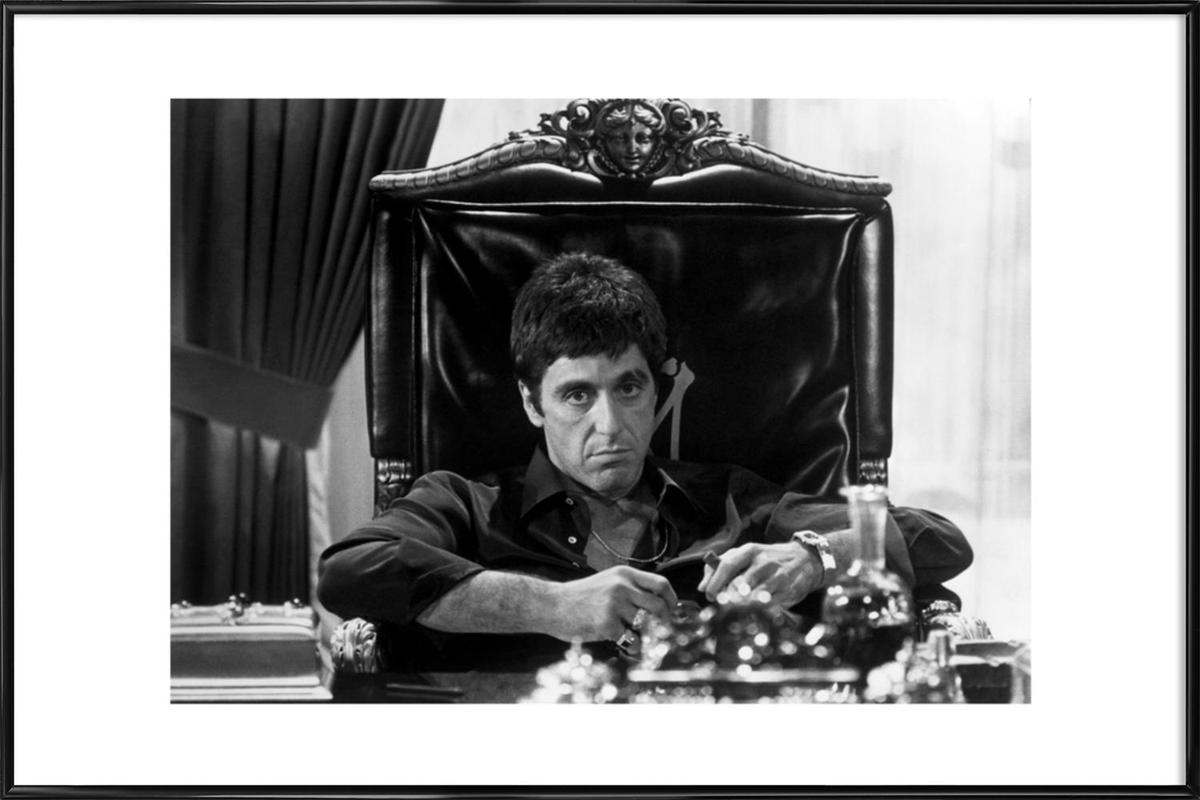Al pacino in scarface as poster in standard frame juniqe jeuxipadfo Images