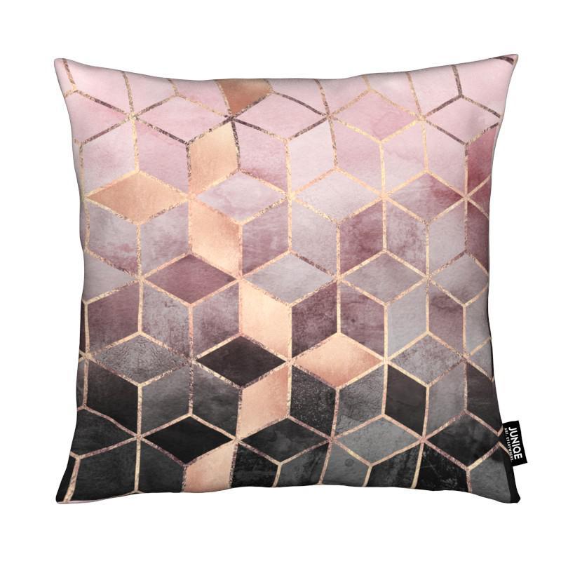 Pink Grey Gradient Cubes As Cushion By Elisabeth