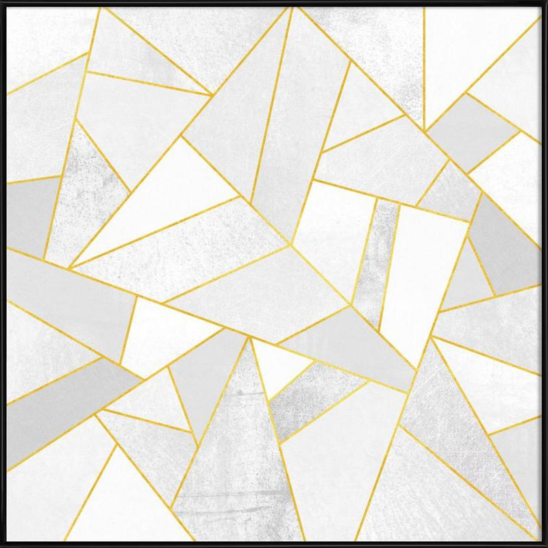 White Stone with Gold Lines as Poster in Standard Frame | JUNIQE