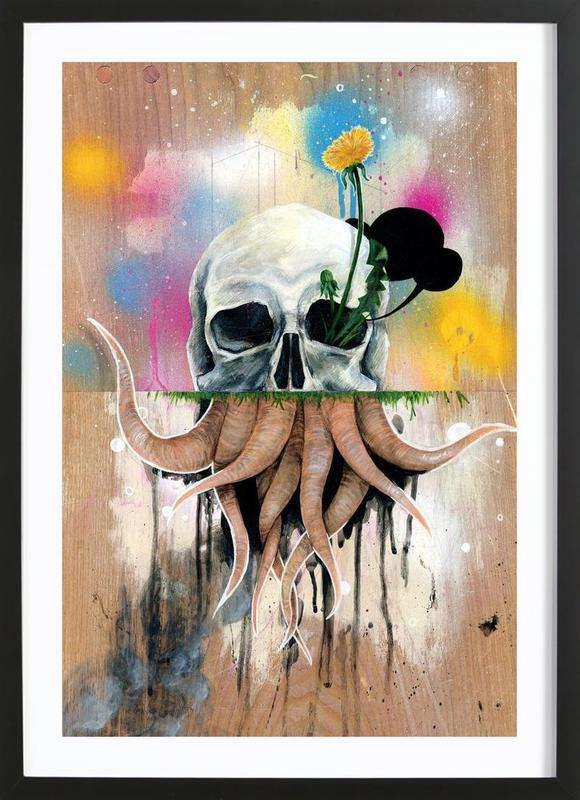 Skull Roots as Poster in Wooden Frame by Famous When Dead | JUNIQE