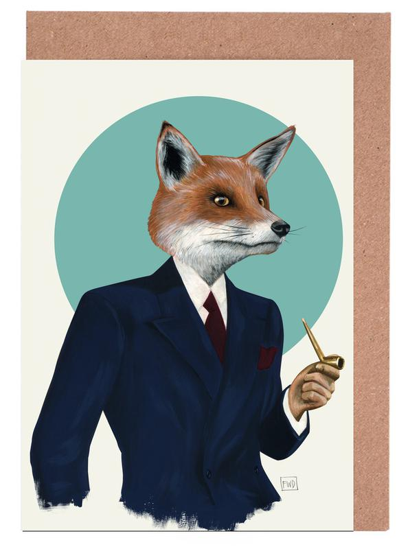 Mr fox as greeting card set by famous when dead juniqe m4hsunfo