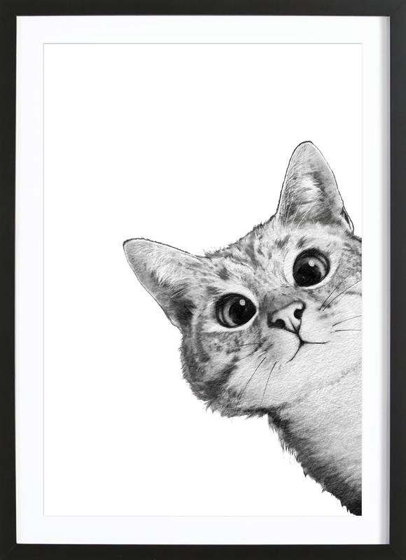 Sneaky Cat as Poster in Wooden Frame by Laura Graves   JUNIQE