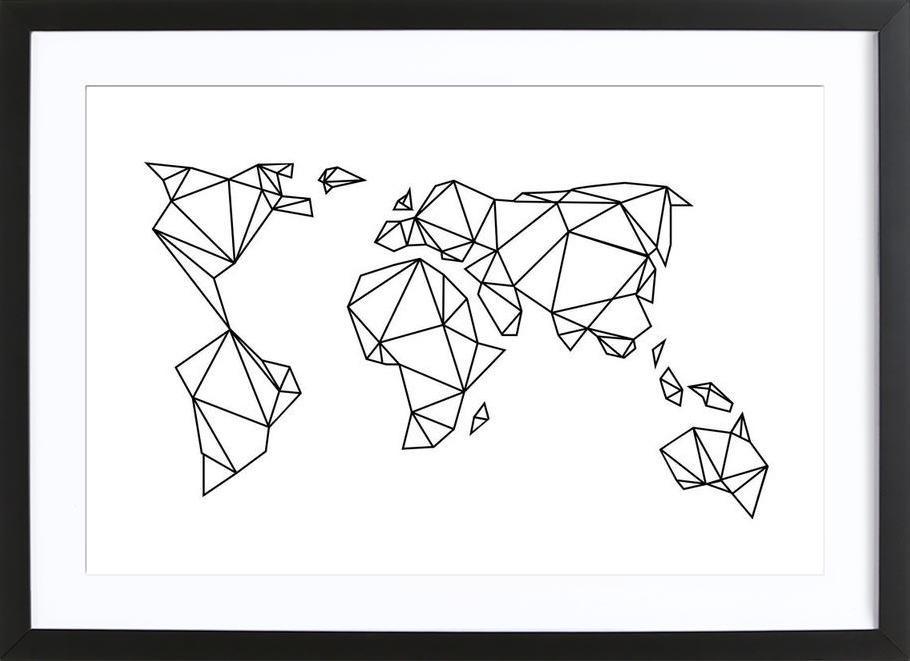 Geometrische erde als poster im holzrahmen von eulenschnitt juniqe - Geometrische wandbilder ...