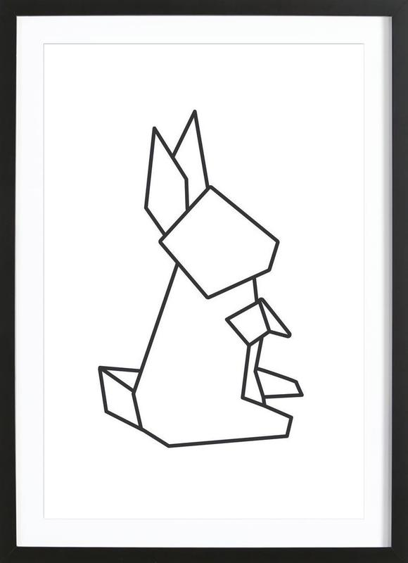 origami hase als poster im holzrahmen von eulenschnitt juniqe. Black Bedroom Furniture Sets. Home Design Ideas