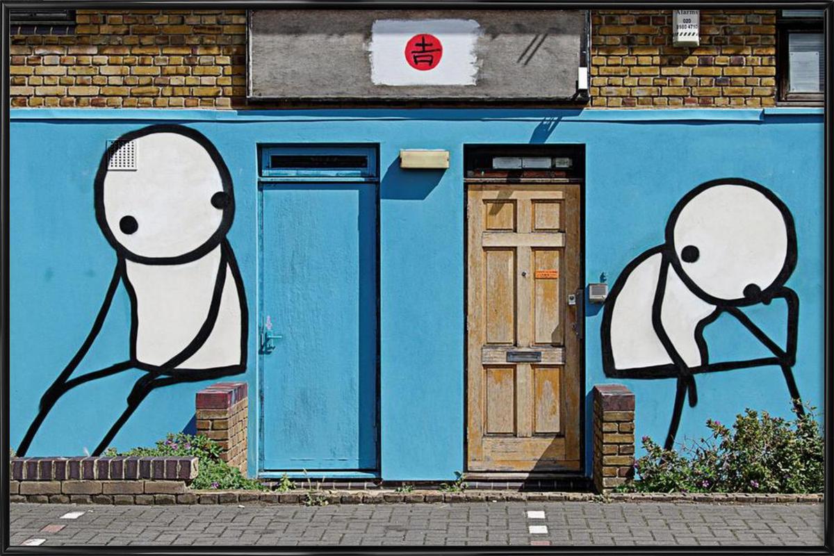 streetart blau 2 en affiche sous cadre standard par sadia | juniqe