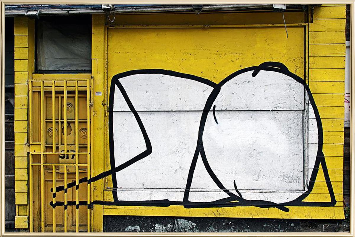 Streetart Gelb 3 as Poster in Aluminium Frame by Sadia | JUNIQE