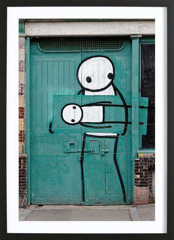 streetart gr n 2 en affiche sous cadre en bois par sadia juniqe. Black Bedroom Furniture Sets. Home Design Ideas