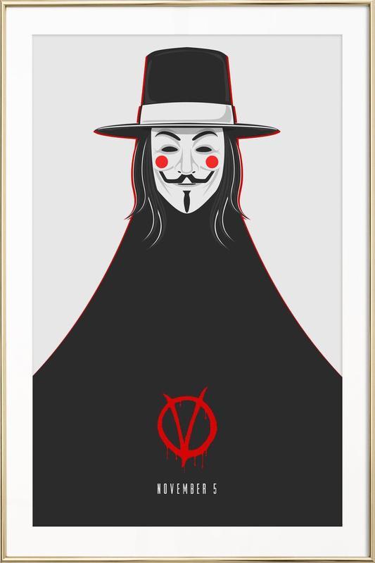 V for vendetta minimal november 5 en affiche sous cadre en aluminium juniqe