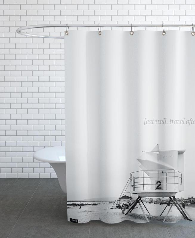 Eat Well Travel Often As Shower Curtain By Kubistika