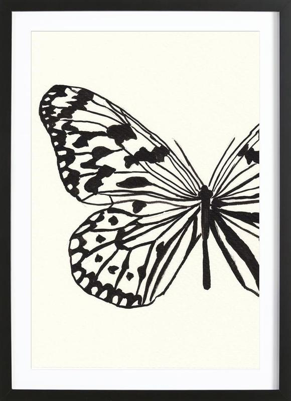 White butterfly as Poster in Wooden Frame | JUNIQE