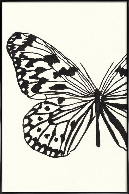 White butterfly as Poster in Standard Frame   JUNIQE
