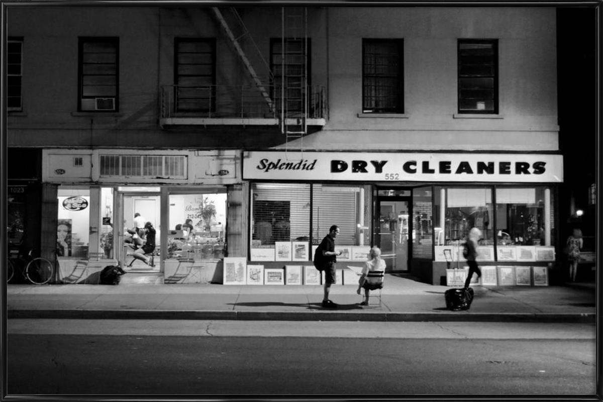 dry cleaners als poster im kunststoffrahmen juniqe. Black Bedroom Furniture Sets. Home Design Ideas