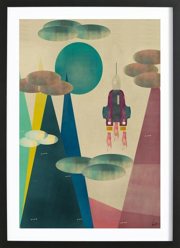 Framed Print Launch of Space Shuttle Atlantis Picture Poster Art Moon Mars