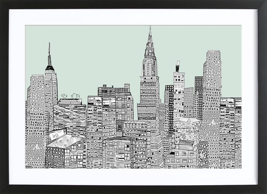 new york vintage as Poster in Wooden Frame by Brian Buckley | JUNIQE
