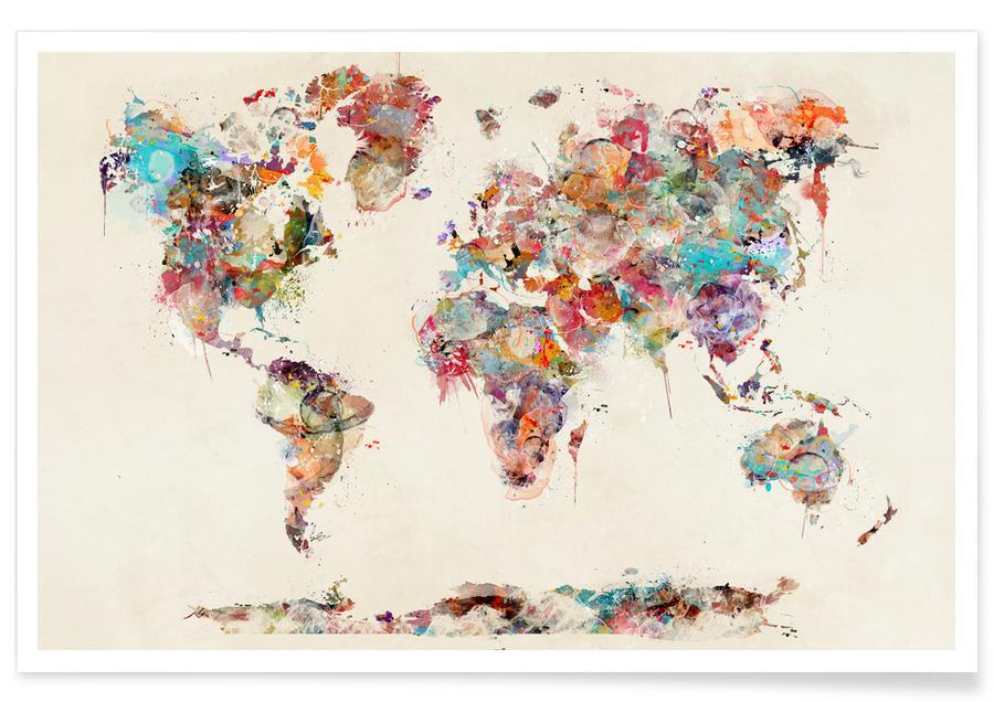 world map watercolor en affiche premium par brian buckley juniqe. Black Bedroom Furniture Sets. Home Design Ideas